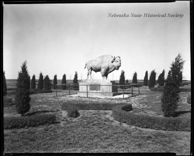 The bronze buffalo statue in Pioneers Park, Lincoln, Nebraska. It was created by sculptor G. Gardet and installed on May 17, 1930.